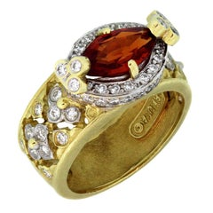 Stambolian Spessartite Garnet Diamond Gold Ring