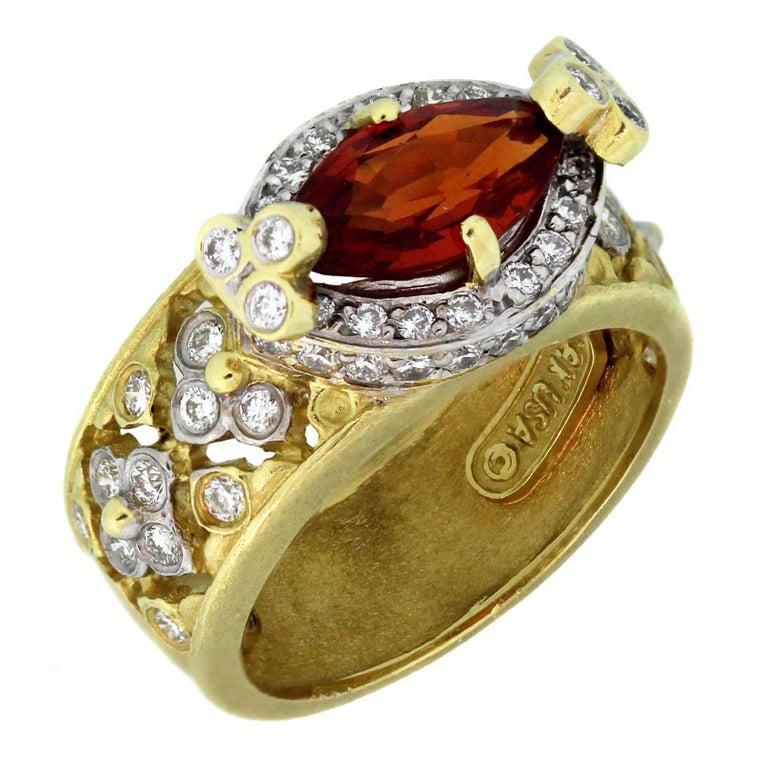 Stambolian Spessartite Garnet Diamond Gold Ring