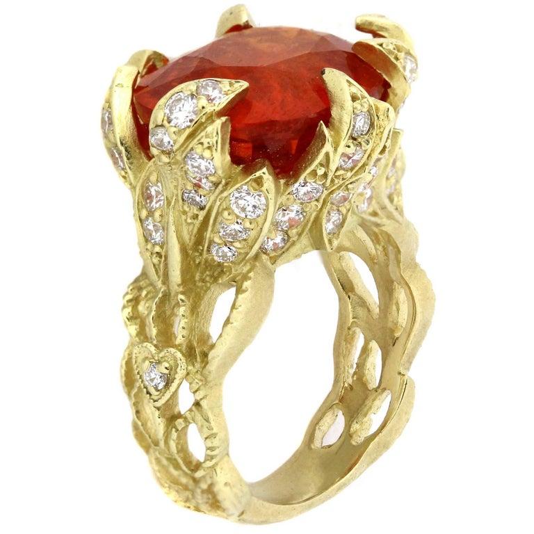 Stambolian Spessartite Mandarin Garnet Diamond Gold Ring