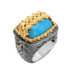 Stambolian Sterling Silver 18k Yellow Gold Sleeping Beauty Turquoise Mens Ring