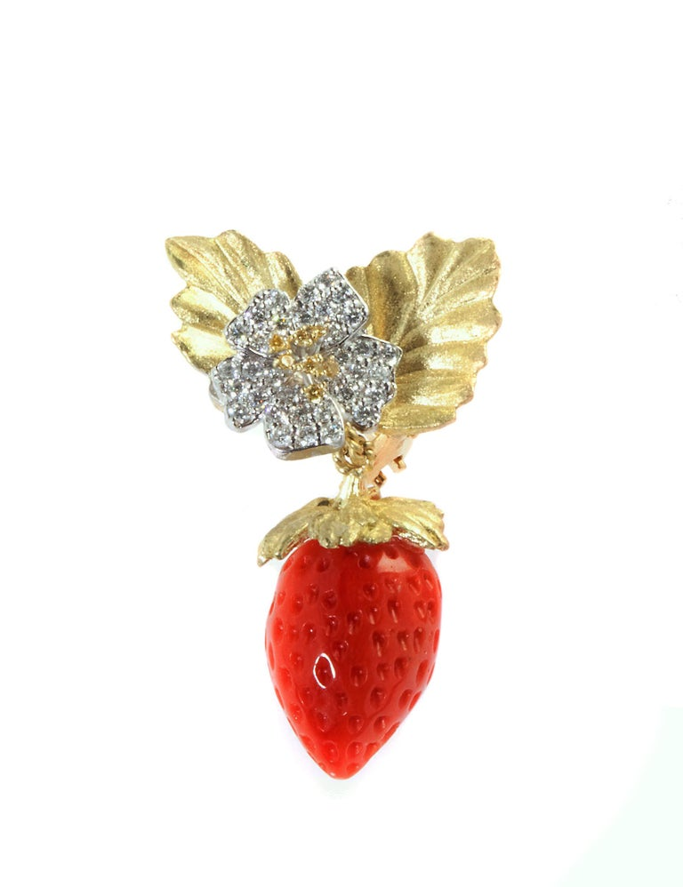 Stambolian Strawberry Coral Diamond Gold Earrings In Excellent Condition In Boca Raton, FL