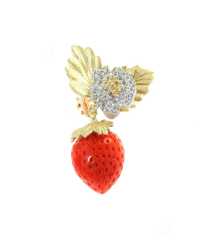 Women's Stambolian Strawberry Coral Diamond Gold Earrings