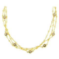 Stambolian Three-Link Handmade Chain Necklace with Diamond Bezels