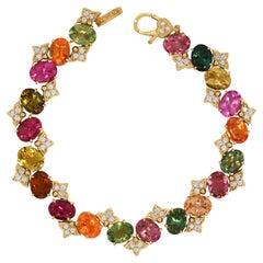 Stambolian Tourmalines Spessartite Garnets 18k Yellow Gold Diamonds Bracelet