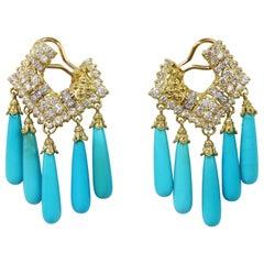 Stambolian Turquoise and Diamond Chandelier Earrings in 18 Karat Yellow Gold