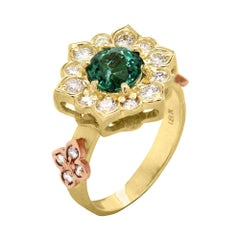 Stambolian Two-Tone Gold and Diamond Ring with Mint Green Tourmaline Center