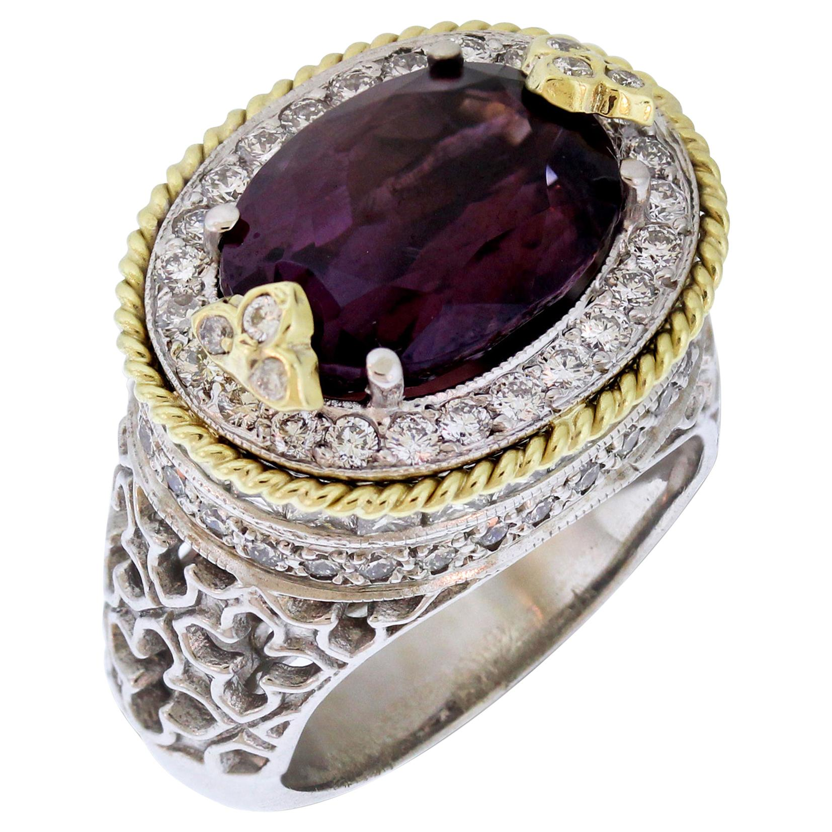 Stambolian Two-Tone Gold and Diamond Ring with Purple Spinel Center