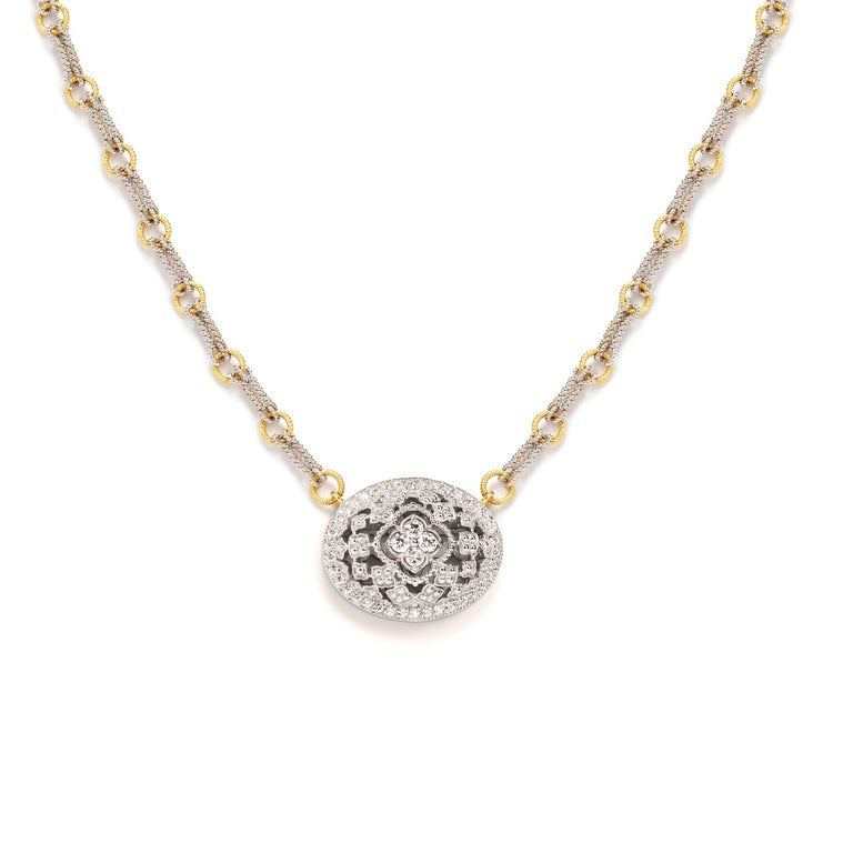 18K White and Yellow Two-Tone Gold and Diamond Oval Pendant Necklace  Incredible workmanship and design on this stunning new piece by Stambolian. Chain is made entirely by hand.  0.66 carat G color, VS clarity white diamonds  Pendant is 0.90 in. x