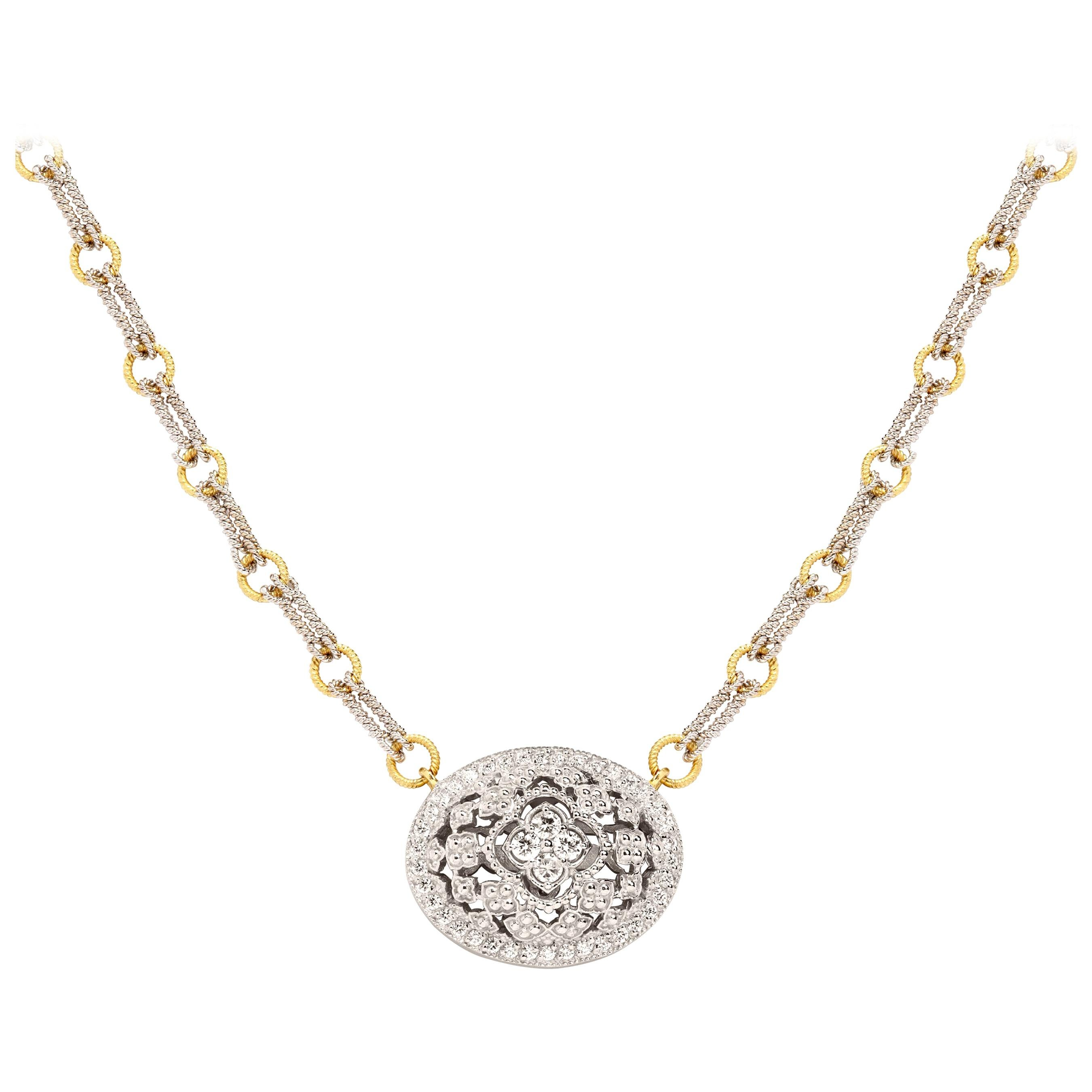 Stambolian Two-Tone White Yellow Gold and Diamond Oval Pendant Chain Necklace