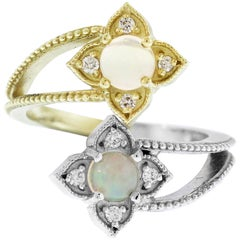 Stambolian Two-Tone Yellow and White Gold and Diamond Bypass Ring with Opals
