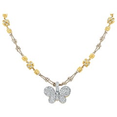 Stambolian Two-Tone Yellow White Gold and Diamond Butterfly Pendant with Chain