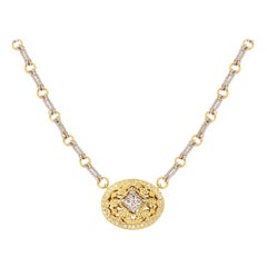 Stambolian Two-Tone Yellow White Gold and Diamond Oval Pendant Chain Necklace