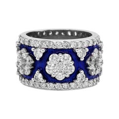 Stambolian White Gold and Diamond Band Ring with Cobalt Blue Enamel