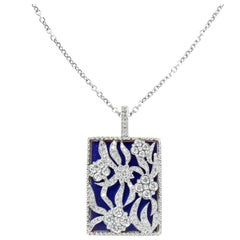 Stambolian White Gold and Diamond Blue Enamel Floral Enhancer Pendant Necklace