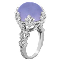 Stambolian White Gold and Diamond Cocktail Ring with Blue Chalcedony Center