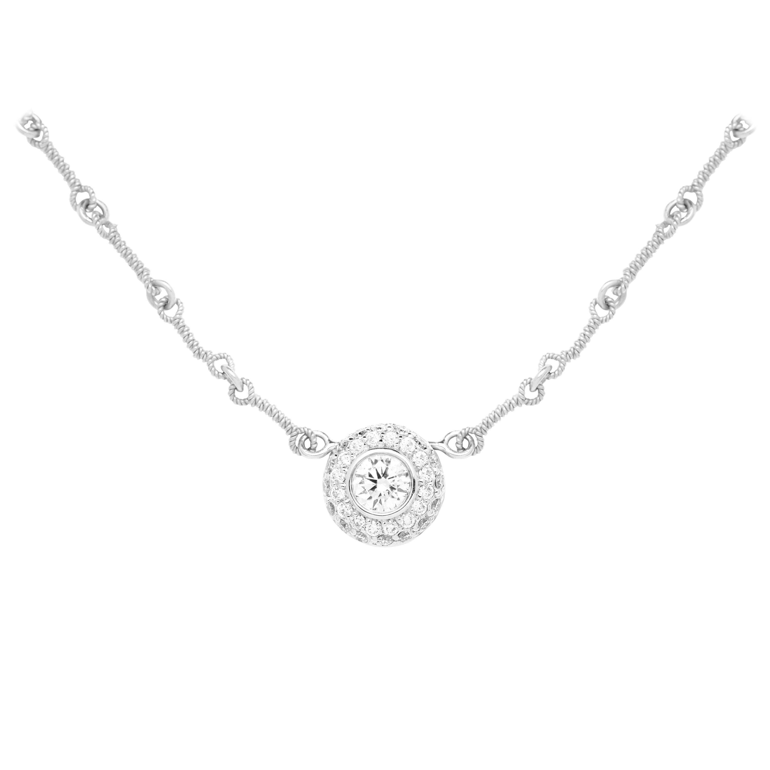 Stambolian White Gold and Diamond Round Pendant with Chain Necklace