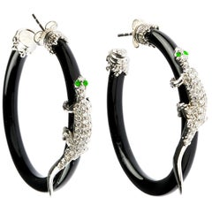 Stambolian White Gold Lizard Hoop Earrings with Onyx and Diamonds