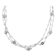 Stambolian White Gold Three-Link Handmade Chain Necklace with Diamond Bezels
