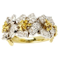 Stambolian Yellow and White Diamond Floral Band Ring