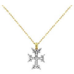 Stambolian Yellow and White Gold Cross Pendant with Diamonds and Chain