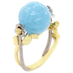 Stambolian Yellow and White Gold Ring with Aquamarine Center and Roses