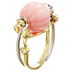Stambolian Yellow and White Gold Ring with Peruvian Pink Opal Center and Roses