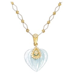 Stambolian Yellow Gold and Diamond Aquamarine Heart Pendant with Chain Necklace