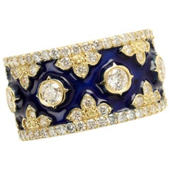Stambolian Yellow Gold and Diamond Band Ring with Cobalt Blue Enamel