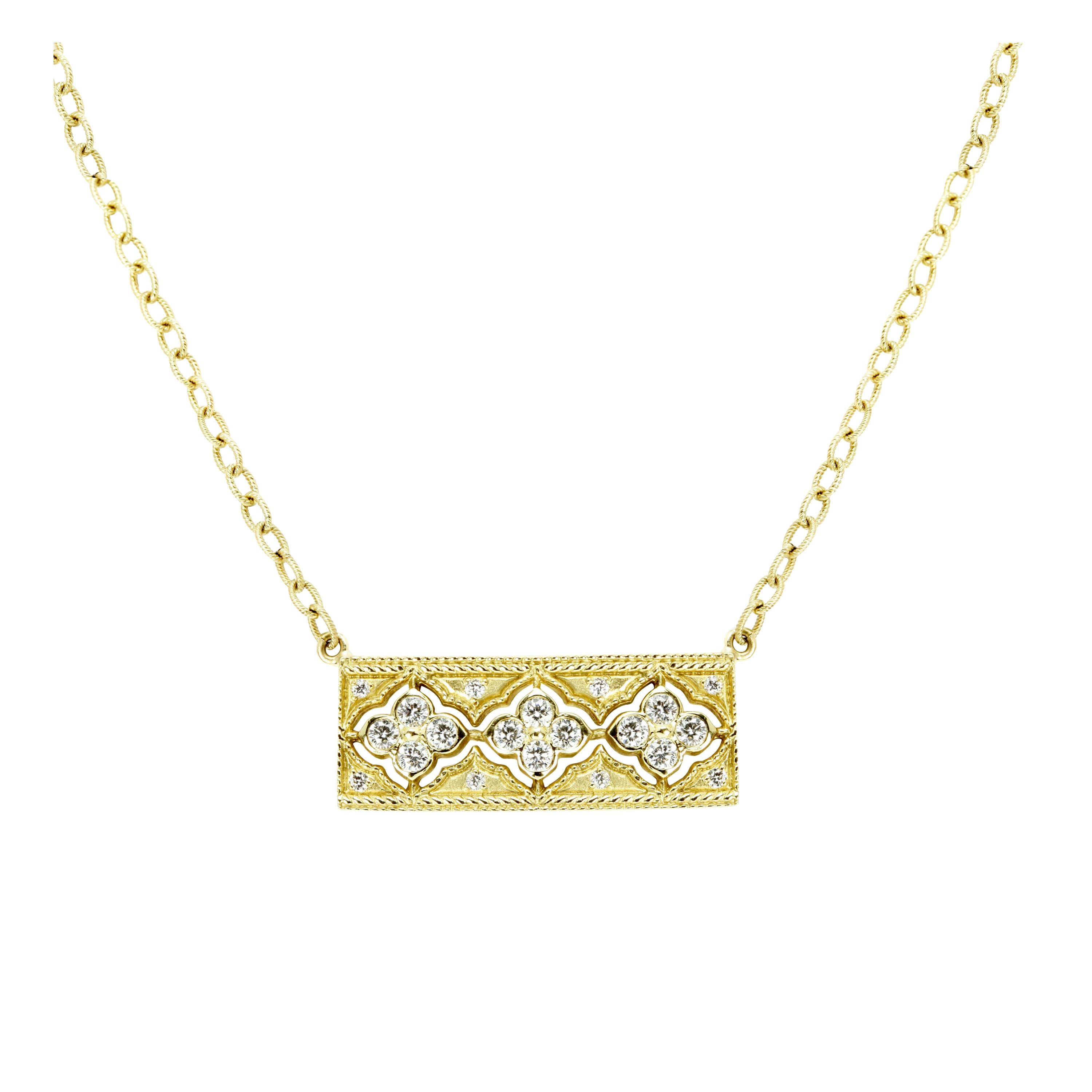 Stambolian Yellow Gold and Diamond Bar Pendant Necklace