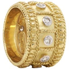 Stambolian Yellow Gold and Diamond Cigar Band Ring