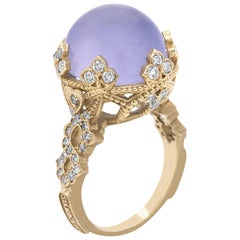 Stambolian Yellow Gold and Diamond Cocktail Ring with Blue Chalcedony Center