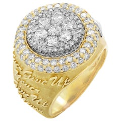Stambolian Yellow Gold and Diamond Men's Ring Never Give Up