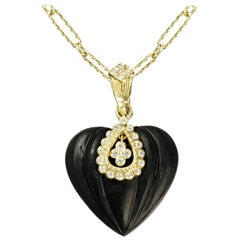 Stambolian Yellow Gold and Diamond Onyx Heart Pendant with Chain Necklace