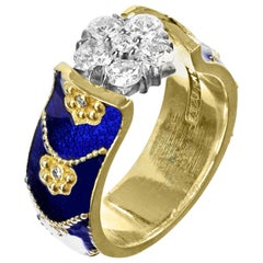 Stambolian Yellow Gold and Diamond Small Ring with Cobalt Blue Enamel