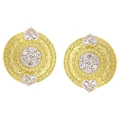 Stambolian Yellow Gold and Diamond Stud Earrings