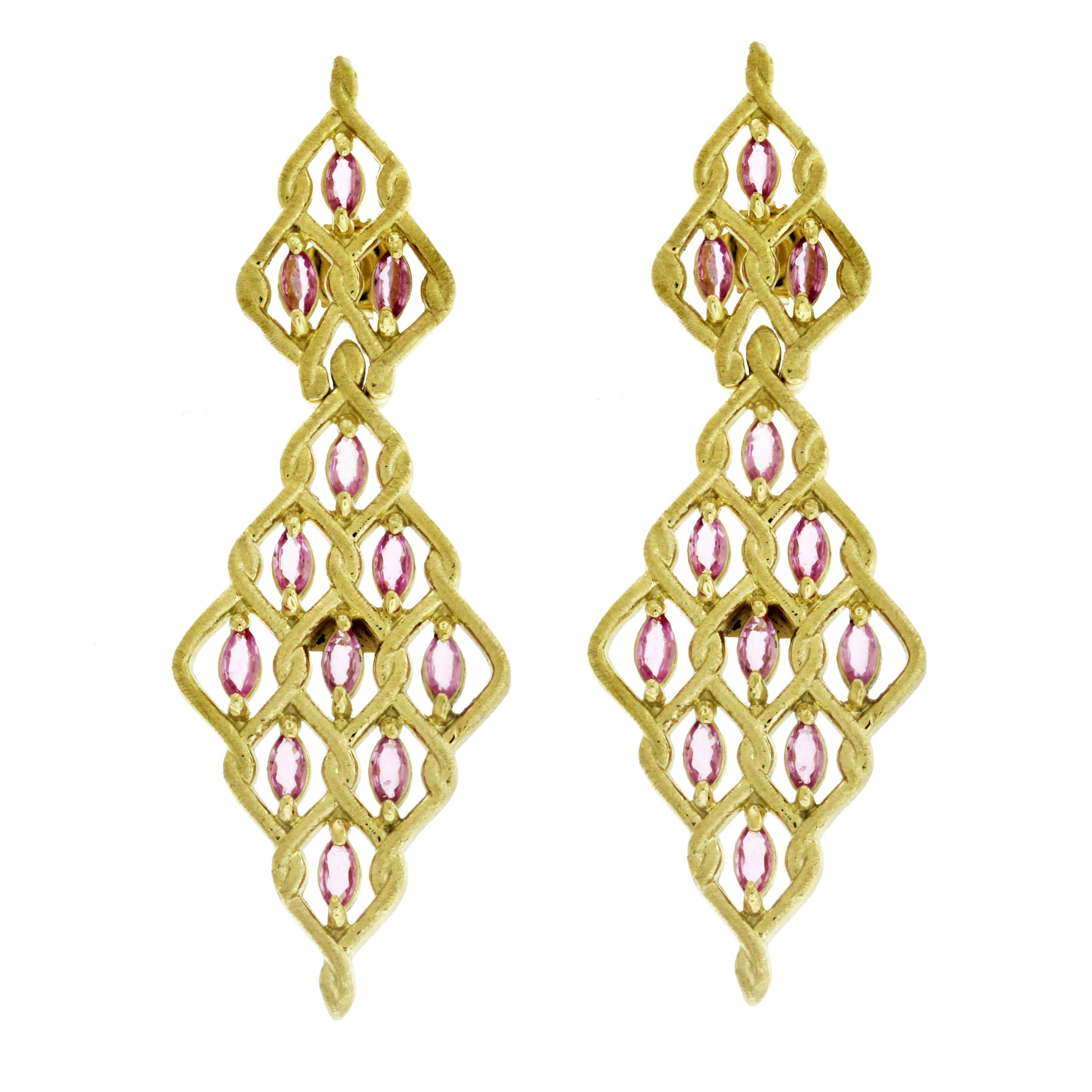 Stambolian Yellow Gold Drop Earrings with Marquise Pink Sapphires