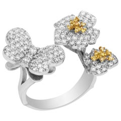 Stambolian Yellow White Diamonds Butterfly Flowers White Gold Cocktail Ring