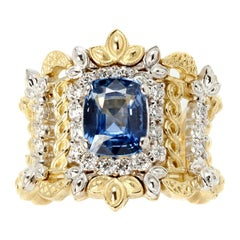 Stambolian Yellow White Gold and Diamond Ring with Blue Sapphire Center