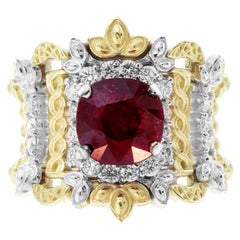 Stambolian Yellow White Gold and Diamond Ring with Ruby Center