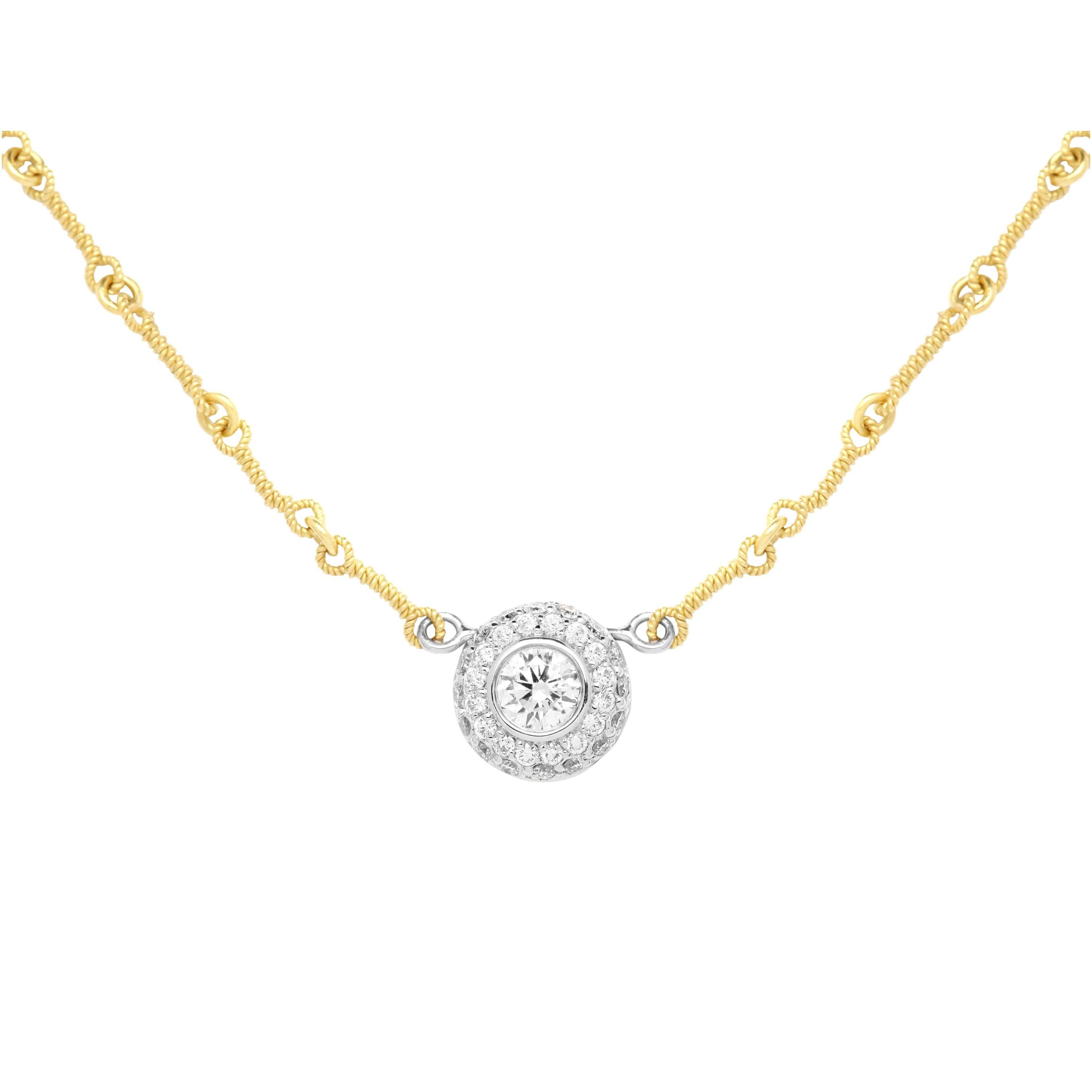 Stambolian Yellow White Gold and Diamond Round Pendant with Chain Necklace