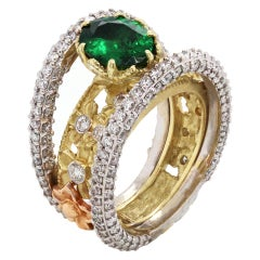 Stambolian Yellow White Rose Gold and Diamond Floral Ring with Tsavorite Center