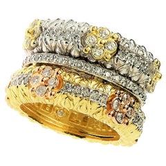 Stambolian Yellow White Rose Gold and Diamonds Floral Wide Band Ring