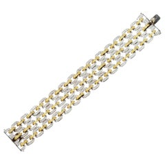 Stambolian Yellow White Two-Tone Gold and Diamond Three Link Bracelet