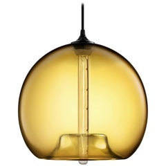 Stamen Amber Handblown Modern Glass Pendant Light, Made in the USA