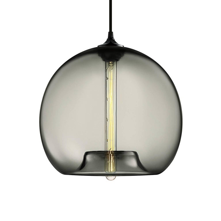 American Stamen Crystal Handblown Modern Glass Pendant Light, Made in the USA For Sale