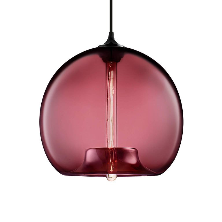 Stamen Crystal Handblown Modern Glass Pendant Light, Made in the USA In New Condition For Sale In Beacon, NY