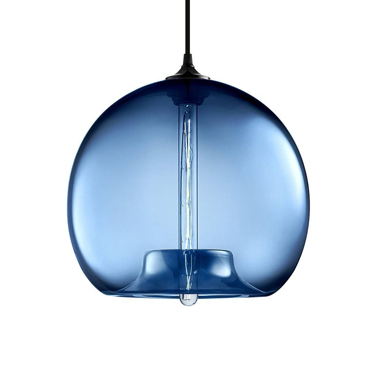 Contemporary Stamen Crystal Handblown Modern Glass Pendant Light, Made in the USA For Sale