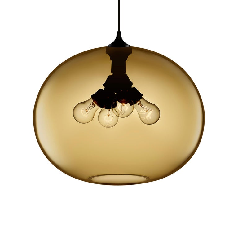 Stamen Crystal Handblown Modern Glass Pendant Light, Made in the USA For Sale 1