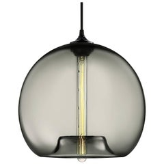 Stamen Gray Handblown Modern Glass Pendant Light, Made in the USA