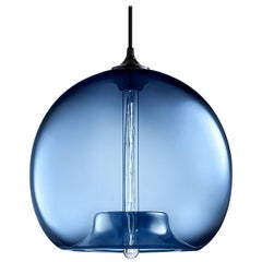 Stamen Sapphire Handblown Modern Glass Pendant Light, Made in the USA